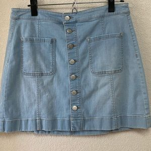 EUC LOFT button down light blue jean skirt, 8